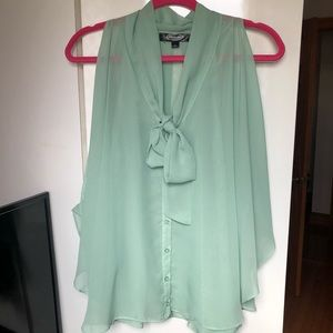 Tops - Tie Front Button Down Chiffon Top